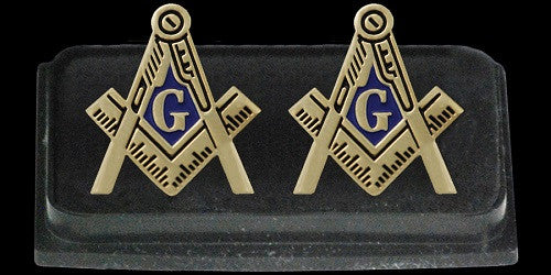 Mason cuff links - square and compass