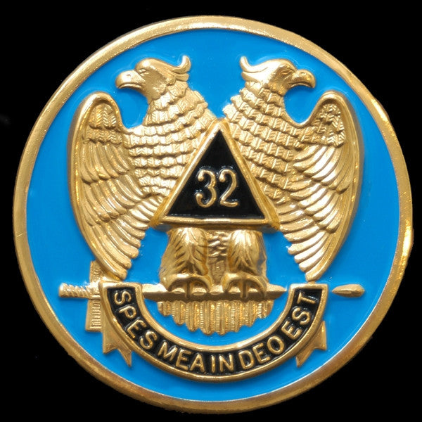 Mason car emblem - 32nd wings-down 3-D stamped