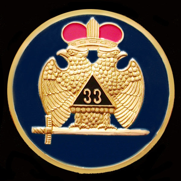 Mason car emblem - 33rd blue wings-down 3-D stamped