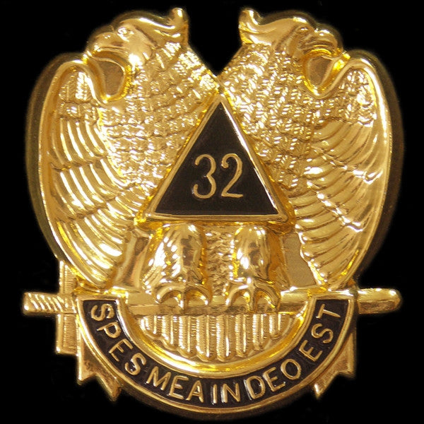 Masonic car emblem - 32nd wings-down die-cut