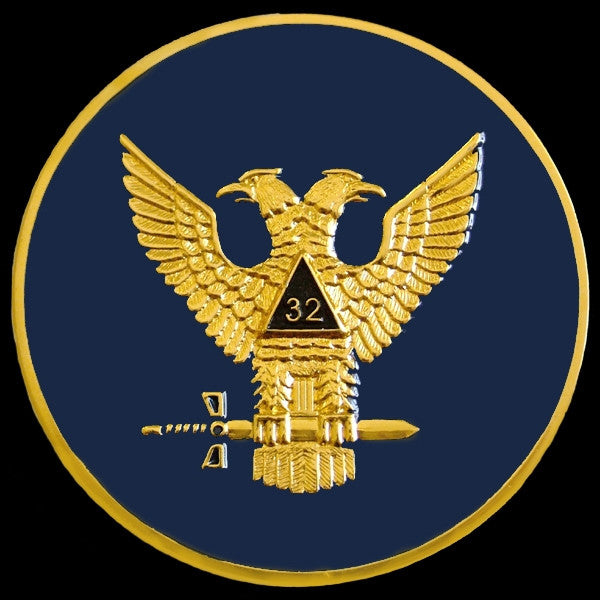 Masonic car emblem - 32 Degree wings up etched brass