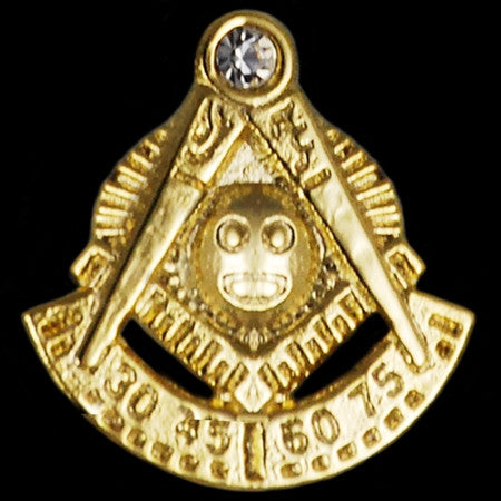 Mason lapel pin - Past Master with stone