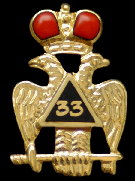 Mason lapel pin - 33rd degree wings down