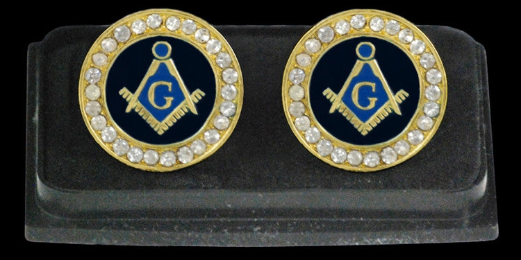 Mason cuff links with crystals - gold