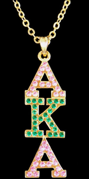 Alpha Kappa Alpha necklace - crystal pendant - gold