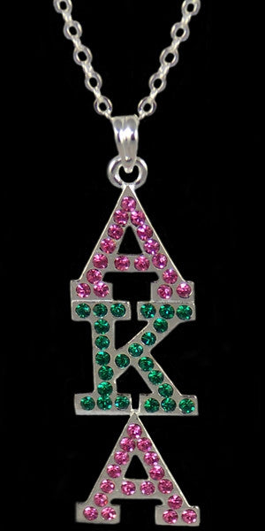 Alpha Kappa Alpha necklace - crystal pendant - silver