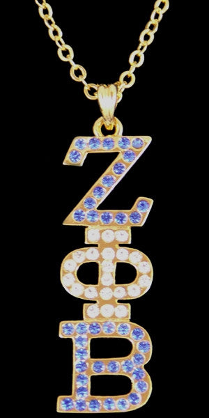 Zeta Phi Beta necklace - crystal pendant - gold