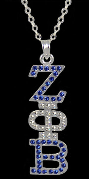 Zeta Phi Beta necklace - crystal pendant - silver
