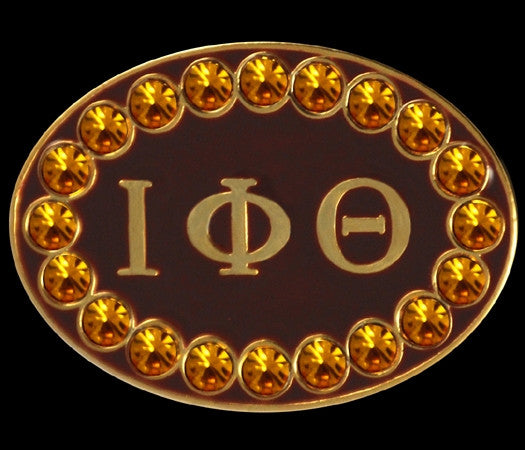Iota Phi Theta cuff links with Swarovski crystals