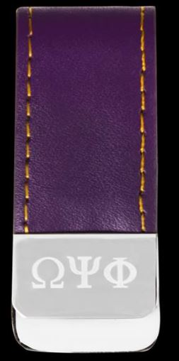 Omega Psi Phi money clip - leather