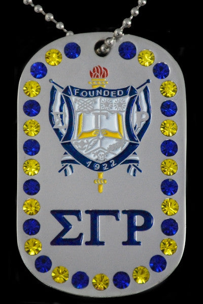 Sigma Gamma Rho - dog tag with stones