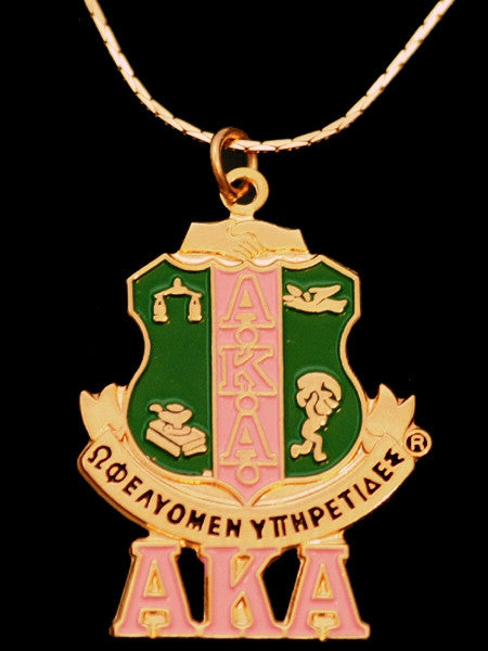 Alpha Kappa Alpha necklace - shield pendant with chain