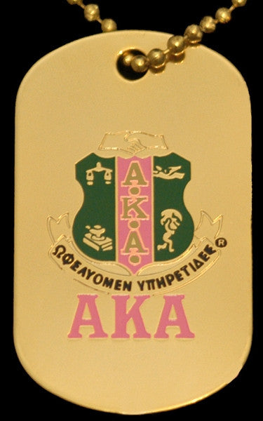 Alpha Kappa Alpha necklace - dogtag with chain - gold