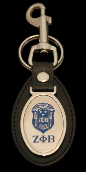 Zeta Phi Beta keychain - leather with oval medallion