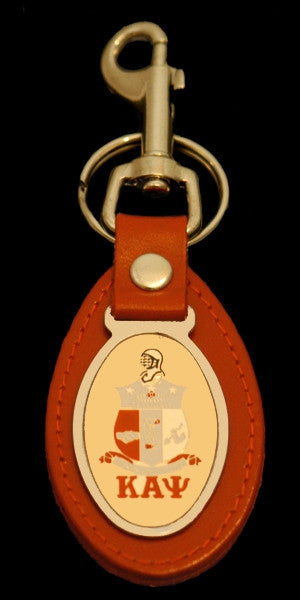 Kappa Alpha Psi keychain - leather with oval medallion