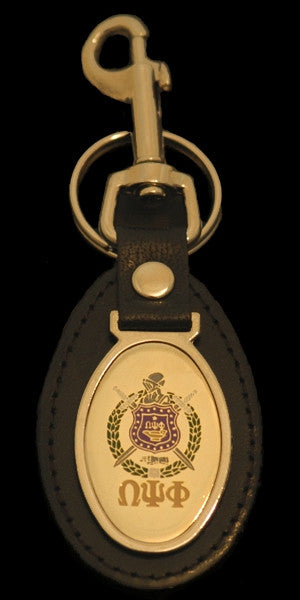 Omega Psi Phi keychain - leather with oval medallion
