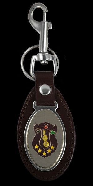 Iota Phi Theta keychain - leather with oval medallion