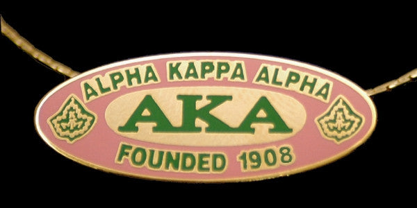 Alpha Kappa Alpha necklace - oval founded date