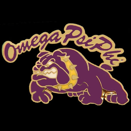 Omega Psi Phi lapel pin - rocker bulldog