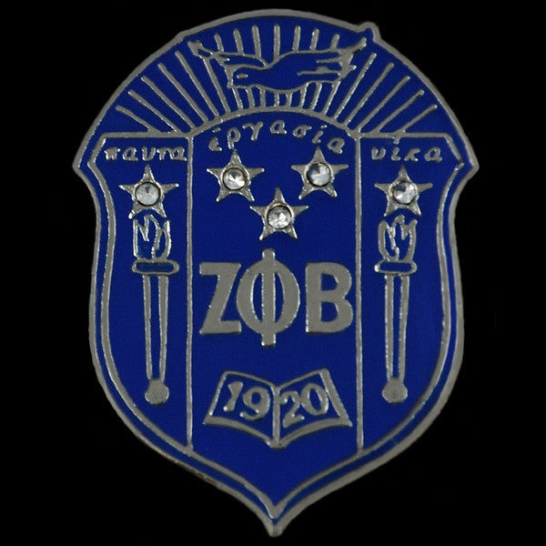 Zeta Phi Beta - shield lapel pin with Swarovski crystals