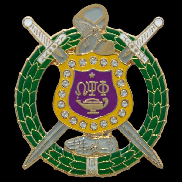 Omega Psi Phi lapel pin - shield with Swarovski crystals