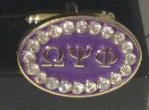 Omega Psi Phi cuff links with Swarovski crystals