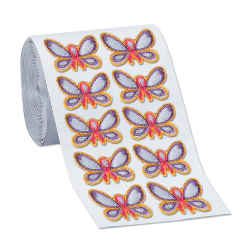 Embroidered Butterfly Stickers on a roll