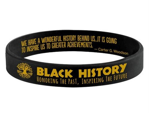 Black History - silicone bracelet - black and gold
