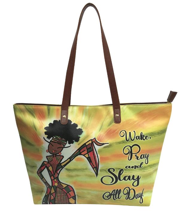 Wake Pray Slay All Day - bucket style handbag