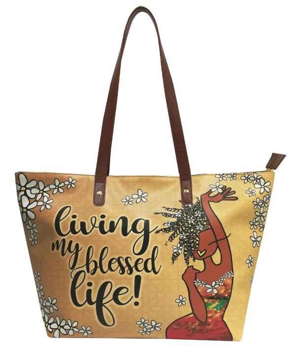 Living My Blessed Life - bucket style handbag