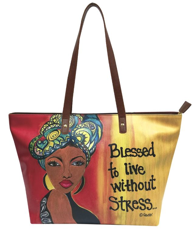 Blessed To Live Without Stress - bucket style handbag