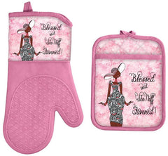 Blessed and Sho Nuff Favored - oven mitt - pot holder