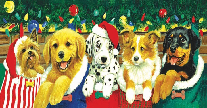 Stocking Puppies 500 piece - jigsaw puzzle