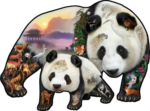 Panda Playground 1000 piece - shaped jigsaw puzzle