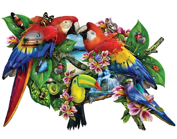Parrots in Paradise 1000 piece - shaped jigsaw puzzle