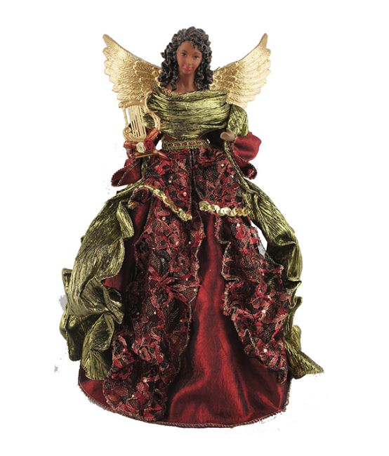 Black Angel Christmas Tree Topper.African American Angel Tree Topper Maroon Lace