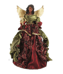 African American Angel Tree Topper - maroon lace