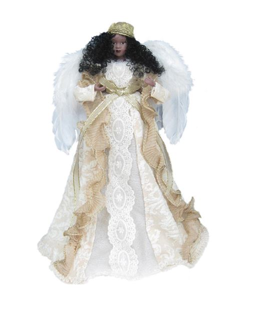 Black Angel Christmas Tree Topper.African American Angel Tree Topper White With Gold Hat