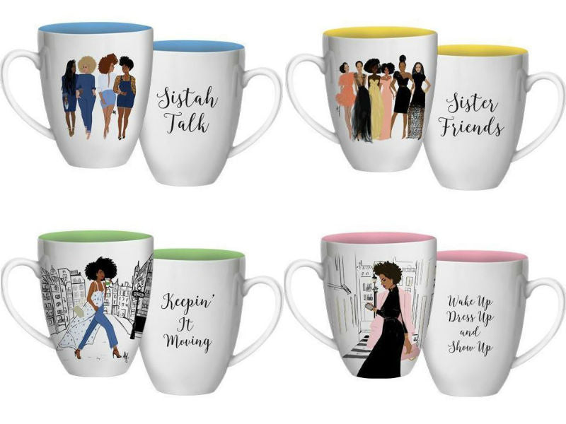 Sistah Talk - decorative mugs - set of 4
