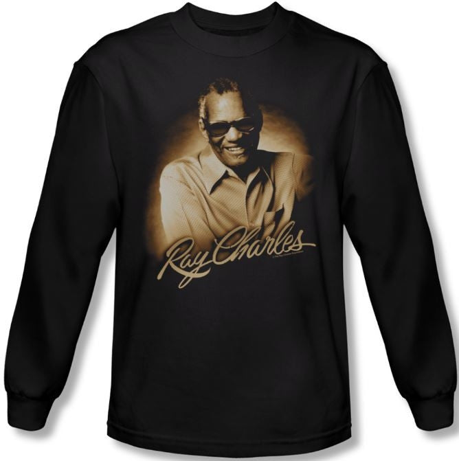 Ray Charles - Sepia Portrait - long sleeve t-shirt