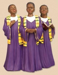 Teen Choir Trio purple gown - church figurine