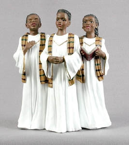 Teen Choir Trio white gown - church figurine