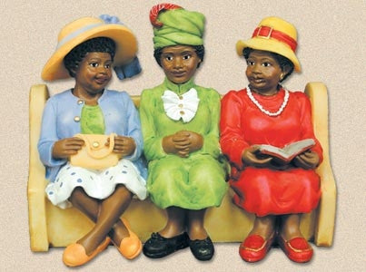 Church Pew - Sunday Hats - figurine