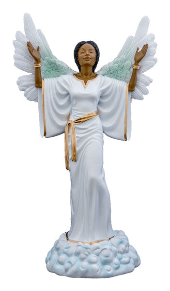 Give Thanks in white - angel figurine