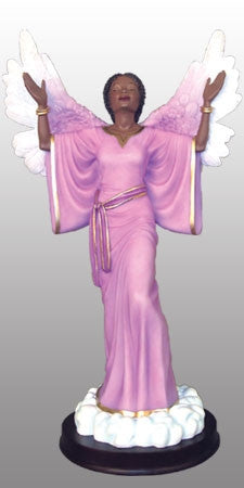 Give Thanks in purple - angel figurine