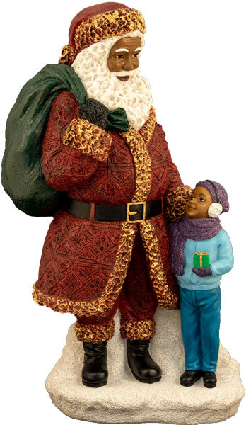 Santa Standing with little boy (large) - resin figurine