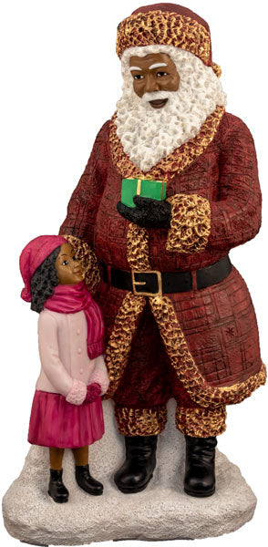 Santa Standing with little girl (large) - resin figurine