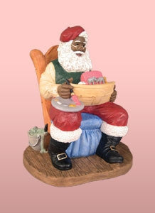 Santa Painting a Toy Boat - resin figurine