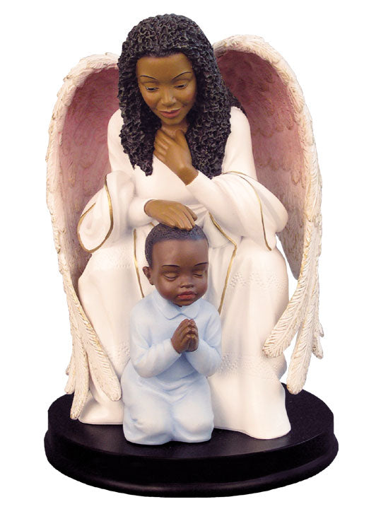 Praying Guardian with boy - figurine