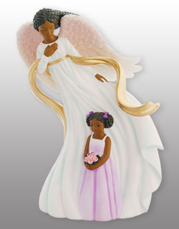 Praying Angel with girl - figurine